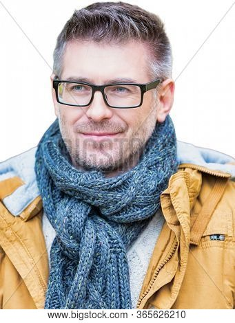 Cutout of Attractive mid adult man wearing winter clothes