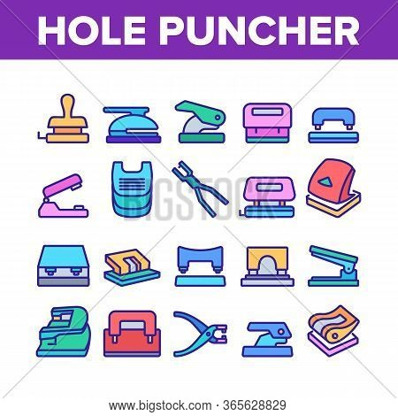 Hole Puncher Tool Collection Icons Set Vector. Hole Puncher Stationery Equipment, Office Accessory,