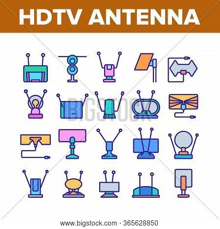 Hdtv Antenna Device Collection Icons Set Vector. Hdtv Antenna Gadget For Tv Broadcasting Signal, Med
