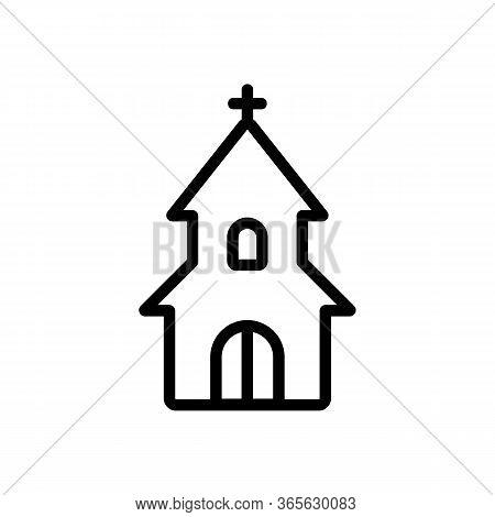 Entrance To Christian Church Icon Vector. Entrance To Christian Church Sign. Isolated Contour Symbol