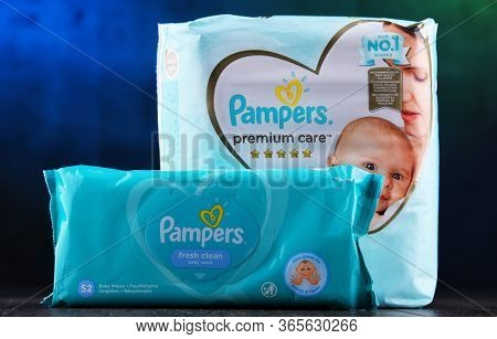Poznan, Pol - May 6, 2020: Pampers, An American Brand Of Baby And Toddler Products Marketed By Proct