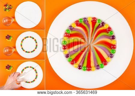 Rainbow Swirl Made From Fruit-flavored Colorful Candy. Fun Science Experiments For Kids. Step By Ste