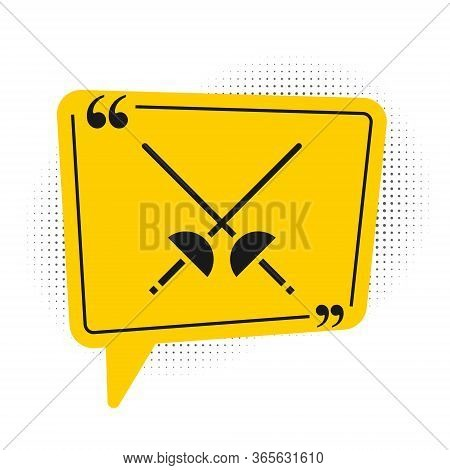Black Fencing Icon Isolated On White Background. Sport Equipment. Yellow Speech Bubble Symbol. Vecto