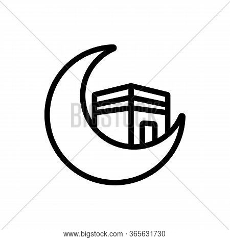 Construction Of Hajj And Moon In Foreground Icon Vector. Construction Of Hajj And Moon In Foreground