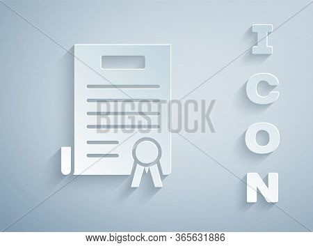 Paper Cut Declaration Of Independence Icon Isolated On Grey Background. Paper Art Style. Vector Illu