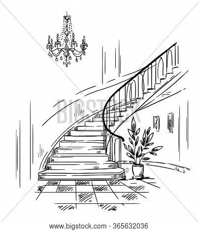 Interior Design, Spacious Hall And Staircase Drawing Vector