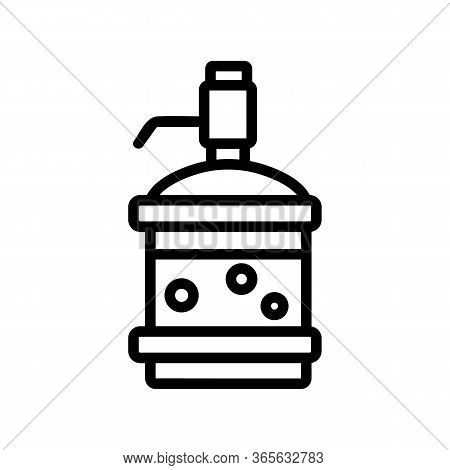 Water Bottle With Pressure Pump Icon Vector. Water Bottle With Pressure Pump Sign. Isolated Contour