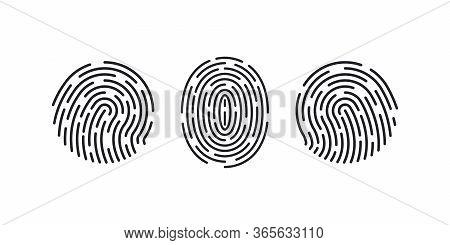 Fingerprint Icons. Thumb Finger Logo. Print Of Unique Thumbprint. Personal Id Identity. Biometric Pa