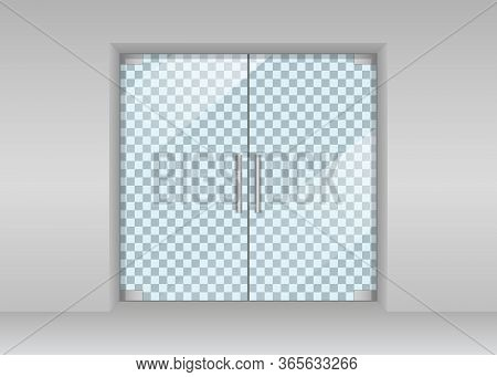 Glass Door In Store. Automatic Entrance In Shop. Realistic Double Door In Supermarket, Office With G