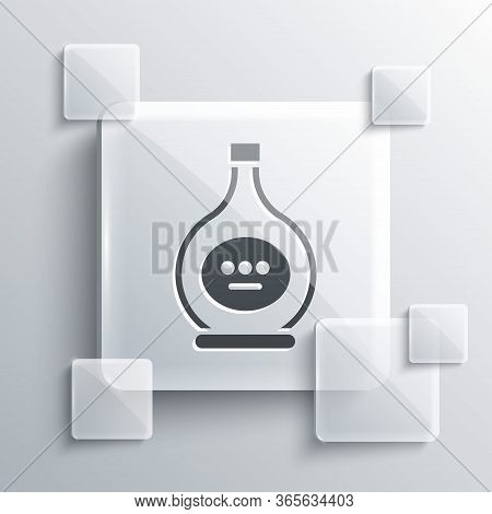 Grey Bottle Of Cognac Or Brandy Icon Isolated On Grey Background. Square Glass Panels. Vector Illust