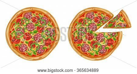 Realistic Pizza With Various Ingredients. Traditional Italian Fast Food. Realistic Pizza With Variou