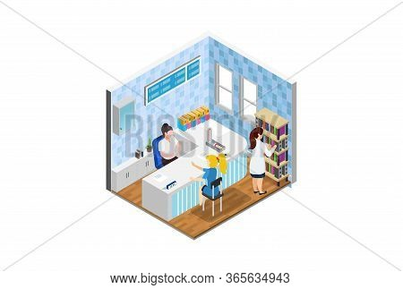 Young Woman Doctor Advises The Patient. Health Care Concept. Suitable For Diagrams, Infographics, Ga