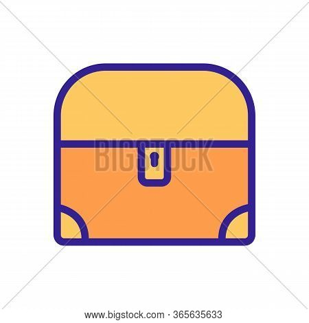 Closed Chest With Rounded Lid Icon Vector. Closed Chest With Rounded Lid Sign. Color Symbol Illustra
