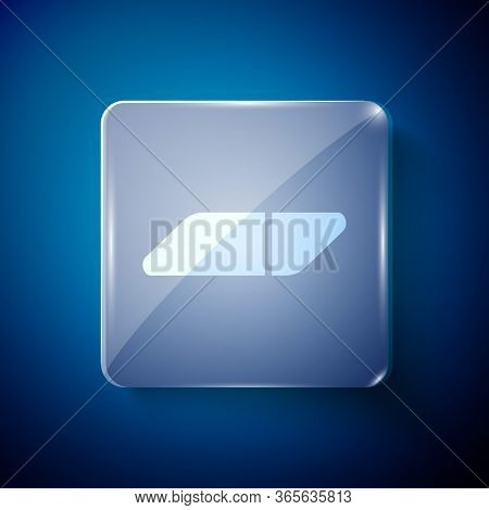 White Eraser Or Rubber Icon Isolated On Blue Background. Square Glass Panels. Vector Illustration
