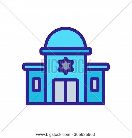 Sacred Synagogue With Towers Icon Vector. Sacred Synagogue With Towers Sign. Color Symbol Illustrati