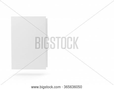 Blank White Hardcover Book Template Mock-up Hovering On White Background - 3d Illustration