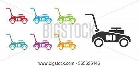 Black Lawn Mower Icon Isolated On White Background. Lawn Mower Cutting Grass. Set Icons Colorful. Ve