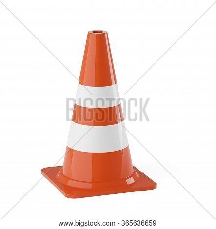 Single Orange Traffic Warning Cone Or Pylon On White Background - Under Construction, Maintenance Or