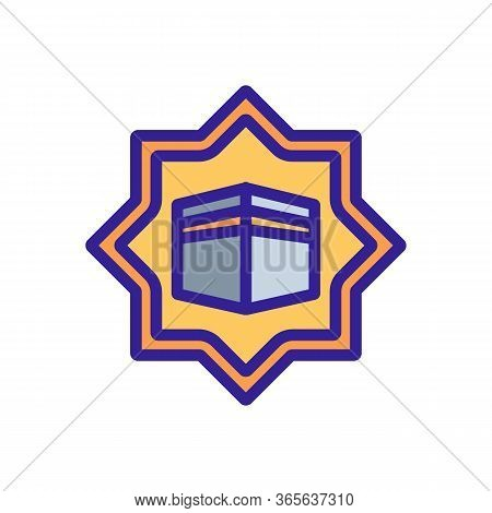 Ascension Of Holy Kaaba Icon Vector. Ascension Of Holy Kaaba Sign. Color Symbol Illustration