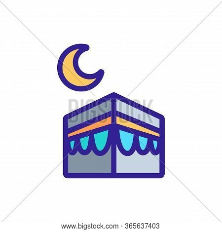 Cubic Black Building And Moon Icon Vector. Cubic Black Building And Moon Sign. Color Symbol Illustra