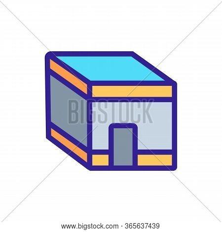 Islamic Religious Rectangular Building Icon Vector. Islamic Religious Rectangular Building Sign. Col
