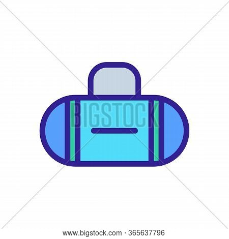 Oval Vertical Stripes Bag Icon Vector. Oval Vertical Stripes Bag Sign. Color Symbol Illustration