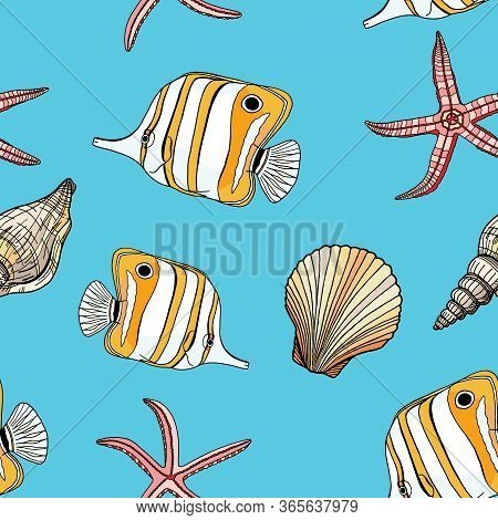 Tropical Fish, Seashell And Starfish Vector Seamless Pattern. Hand Drawn Underwater Illustration. Co