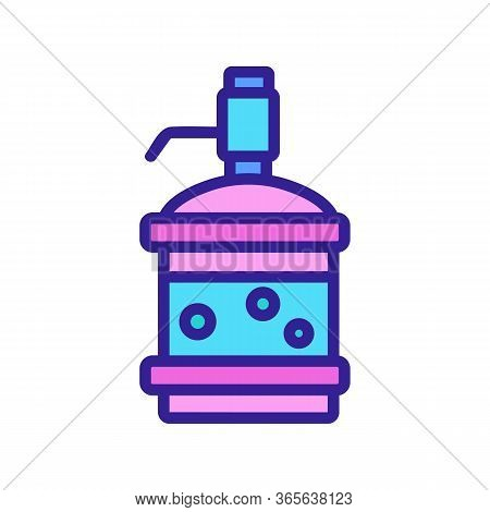 Water Bottle With Pressure Pump Icon Vector. Water Bottle With Pressure Pump Sign. Color Symbol Illu