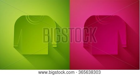 Paper Cut Sweater Icon Isolated On Green And Pink Background. Pullover Icon. Paper Art Style. Vector