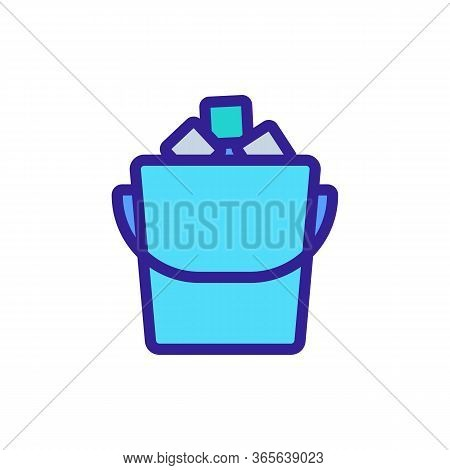 Filled Ice Bucket Icon Vector. Filled Ice Bucket Sign. Color Symbol Illustration