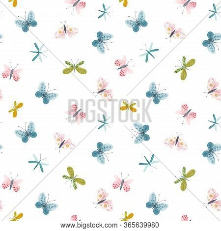 Beautiful Vector Seamless Pattern With Watercolor Hand Drawn Cute Butterflies. Stock Illustration.