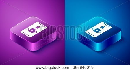 Isometric Eye Scan Icon Isolated On Blue And Purple Background. Scanning Eye. Security Check Symbol.