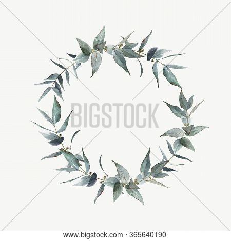 Beautiful Vector Stock Illustration With Watercolor Hand Drawn Laurel Plant Wreath.