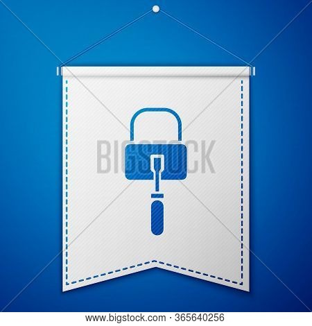 Blue Lockpicks Or Lock Picks For Lock Picking Icon Isolated On Blue Background. White Pennant Templa
