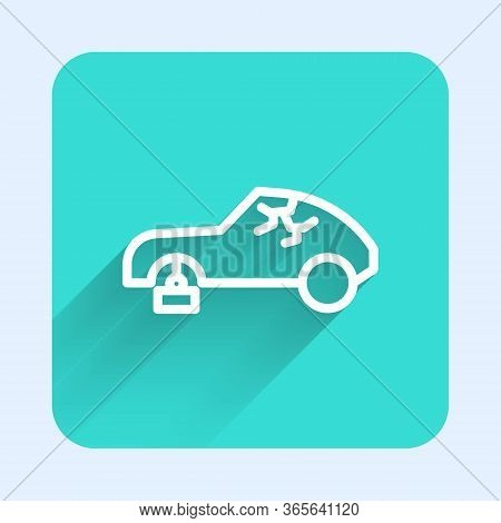 White Line Broken Car Icon Isolated With Long Shadow. Car Crush. Green Square Button. Vector Illustr