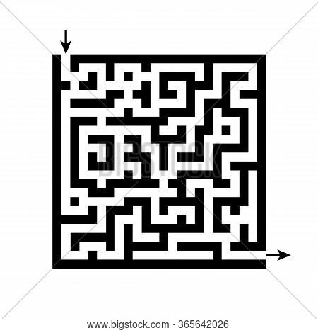 Maze Icon. Vector Illustration Square Maze With Entry And Exit Arrows
