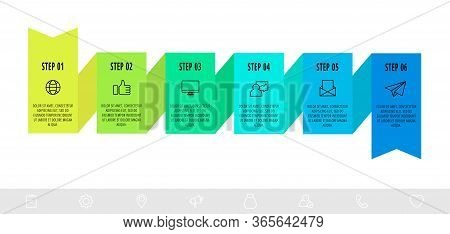 Vector Infographics Design Template With 6 Labels. Modern Ribbon Concept. Origami Style Can Be Used
