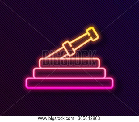 Glowing Neon Line Garden Hose Or Fire Hose Icon Isolated On Black Background. Spray Gun Icon. Wateri