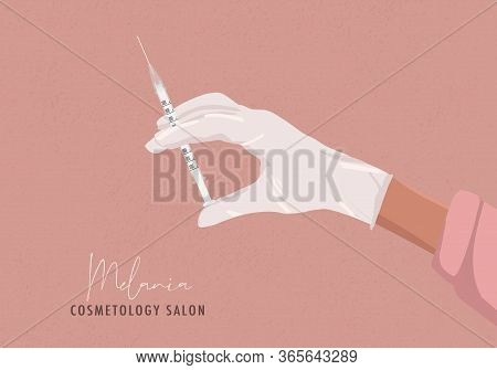 Beauty Woman Injection, Smooth Skin, Lips Filler, Cosmetology Aesthetic Social Media Illustration. H