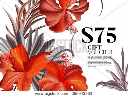 Save The Date Red Hibiscus Flower. Gift Voucher For Florist Salon, Flower Boutique. Contrast Tropica