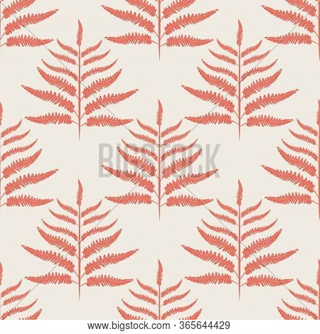 Fern Vector Seamless Pattern Background. Modern Forest Plant Frond Coral White Backdrop. Damask Styl