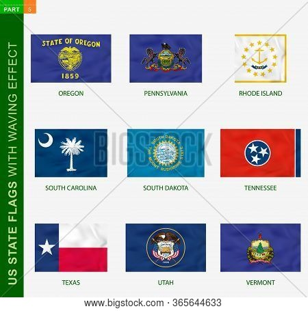 Set Of Us State Flags With Waving Effect, National Flag With Texture. Us States Vector Flag Of Orego