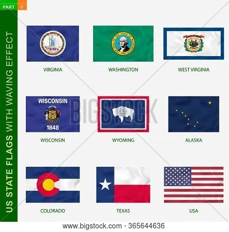 Set Of Us State Flags With Waving Effect, National Flag With Texture. Us States Vector Flag Of Virgi