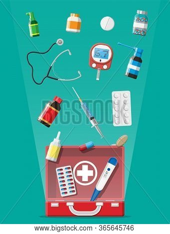 Medical First Aid Kit With Different Pills And Medical Devices. Medical Tools, Drugs, Stethoscope, S