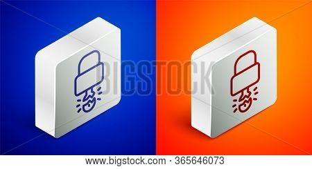 Isometric Line Key Broke Inside Of Padlock Icon Isolated On Blue And Orange Background. Padlock Sign