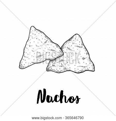 Hand Drawn Sketch Style Nachos. Traditional Mexican Food. Corn Chips. Retro Style. Element For Mexic