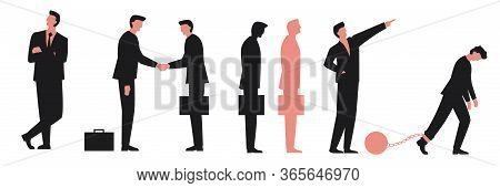 Set Of Business People. Businessmen Cartoon Characters. Vector Illustrations Of A Businessmen Intera