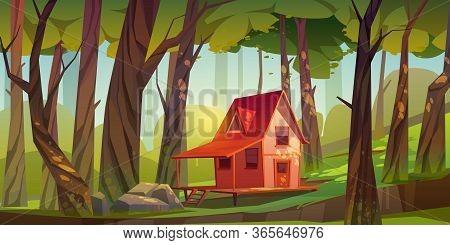 Wood House In Forest Or Garden. Forester Shack. Vector Cartoon Summer Landscape Of Wooden Village, C