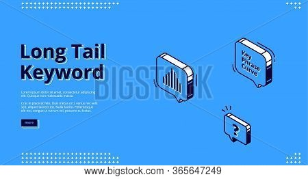 Long Tail Keyword Banner With Isometric Icons On Blue Background. Vector Landing Page Of Seo Optimiz