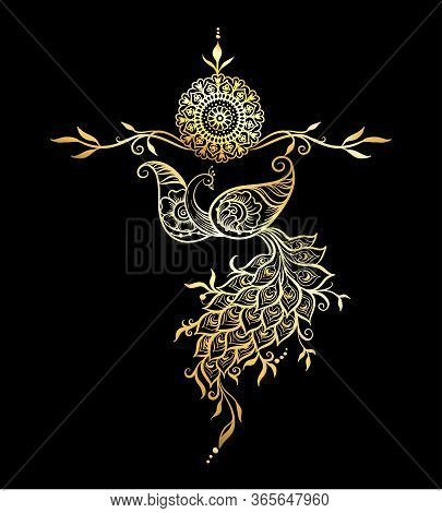 Eastern Ethnic Style Compositions, Mehendi, Traditional Indian Henna Floral Ornament With Peacock. E